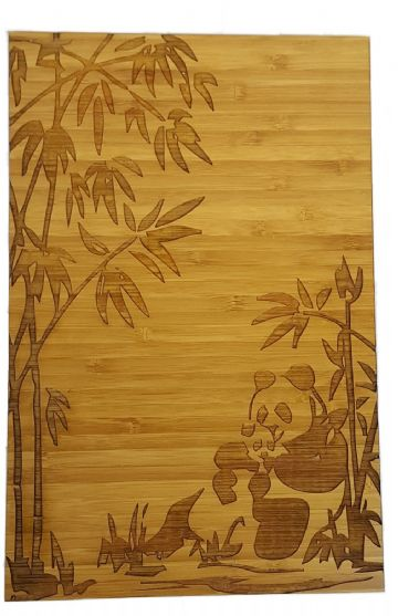 Pandas In Bamboo Forest - Engraved Bamboo Wood Wall Decor Plaque